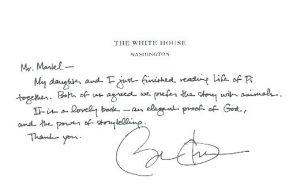 نامه اوباما به یان مارتل برای زندگی پی